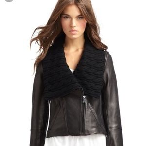 VIA SPIGA cowl neck wool leather moto jacket